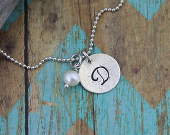 Script Initial Pendant w/Pearl Accent on 16 to 24-In. 14K Gold-Filled or Sterling Silver Bead or Box Chain: Everyday Necklace, Woman's Gift