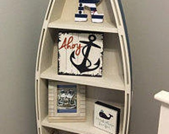 5 foot blue row Bookshelf Bookcase shelves skiff schooner canoe nautical  Dorey kids room wooden boat shelf Beach decor Photo propp Nursery