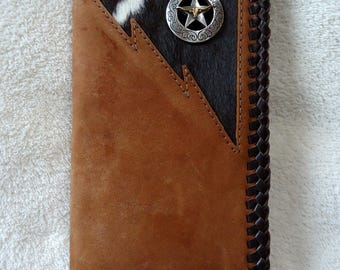 Handmade Roper Wallet with Hair-on Cowhide Inlay and Star Concho with Longhorn