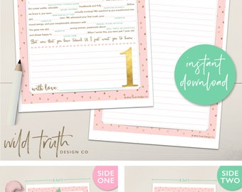 Baby Girl's First Birthday Time Capsule Letter Printable Madlib - Pink, Gold, & Mint [Instant Download]