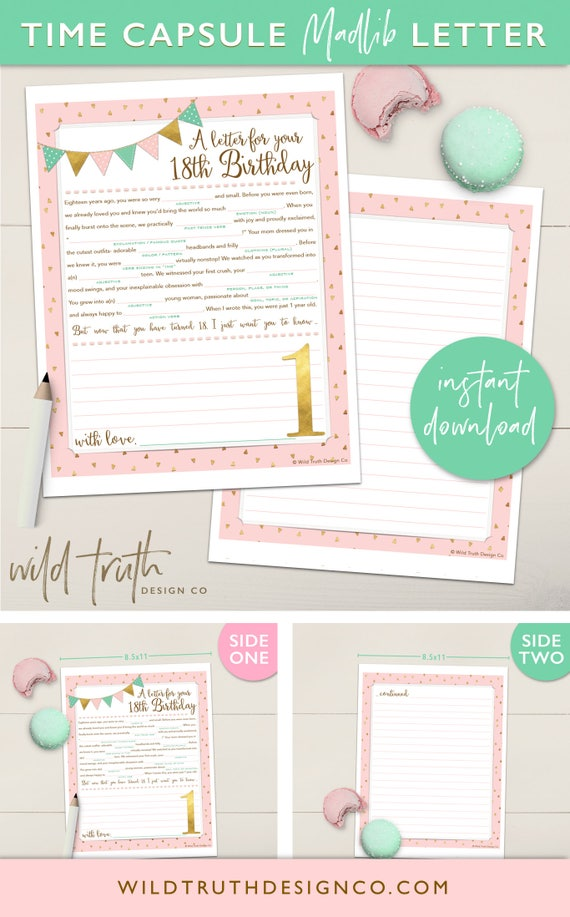 Baby Girl S First Birthday Time Capsule Letter Printable