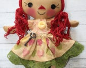 Valentine's Day Rainbow Hearts Annie - Primitive Raggedy Ann Doll (HAFAIR)