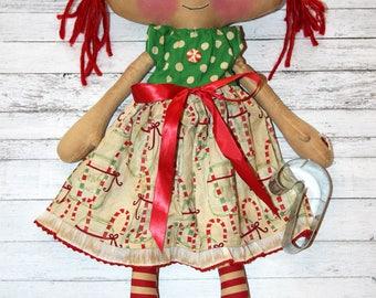Christmas Candy Cane Emma Anne - Primitive Raggedy Ann Doll