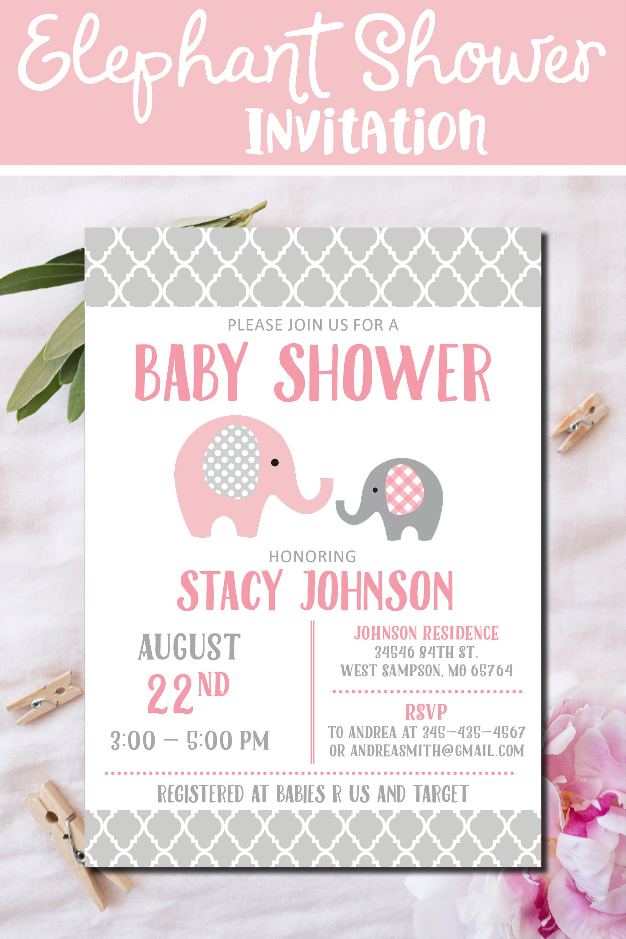 Pink Elephant Baby Shower Invitation pink gray elephant baby
