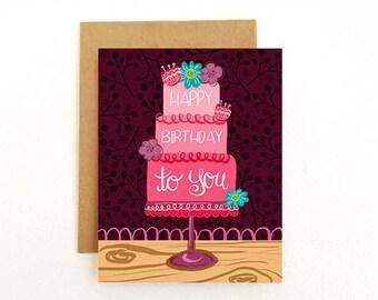 Birthday Card - Birthday For Her Card - Happy Birthday To You - Floral Birthday Card - Pretty Birthday Card