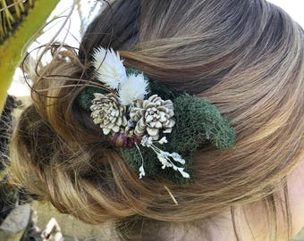 Moss and dried flower rustic hair clip
