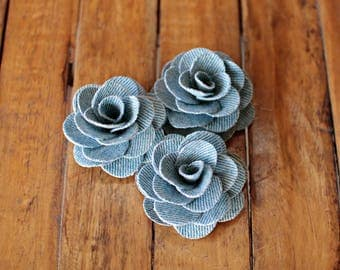 Denim Fabric Roses- Two Dozens- Faded Jeans Flowers