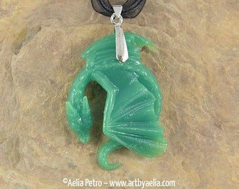 Faux Jade Resting Dragon Necklace - In Stock and Ready to Ship