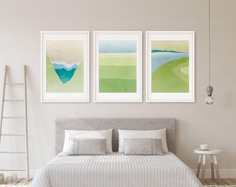Abstract Landscapes, Wall Art Set of 3 Prints, Modern Abstract Art, Wall Art Prints, Nature Art, Green Art, Art Collection, Green Wall Decor
