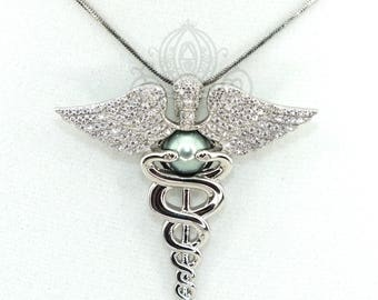Nurse RN Caduceus Pearl Cage Pendant Silver Crystal Nursing Jewelry RN Graduation Gift Nurse Gift