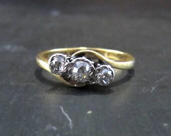 Antique Engagement Ring, Edwardian Three Old Mine Diamond Ring Platinum/18k c. 1910, Vintage Engagement Ring, Edwardian Engagement Ring