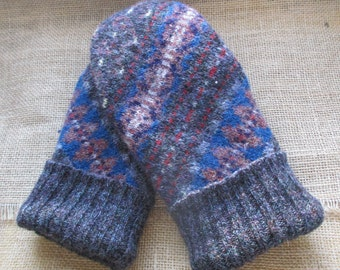 Felted Wool Sweater Mittens - Fleece-lined, Recycled, WARM Sweater Mittens, Medium Women's size - Fair Isle Mittens