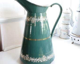 Gorgeous Rare Hand-painted Green French Antique Enamelware Body Pitcher, signed by artist, c. 1880, Birthday Gift, Homewarming Gift