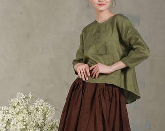 Washed linen cropped front top LEAF in moss green(8 colors), Linen Blouse,  linen shirt, Linen top, linen shirt women,loose top