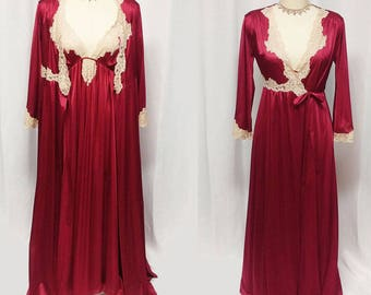 Vintage Kayser Silky Peignoir & Nightgown Set w Ecru Lace in Cranberry kayser nightgown kayser peignoir glamorous peignoir set Christmas set
