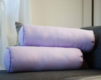 2 lilac bolster pillows, linen bolsters, big bolster pillows, bolster throws, sofa bolsters, daybed bolsters with inserts