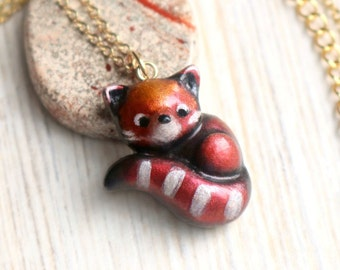 Red panda necklace, polymer clay pendant, cute kawaii animal jewelry, nature lover gift, girl gift, girlfriend gift, for her ~~ CHARITY ITEM