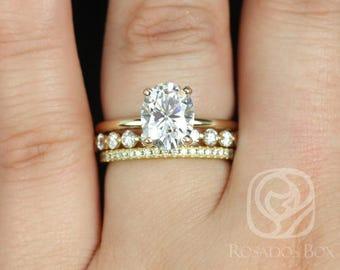 Rosados Box Harper 9x7mm, Medio Naomi, Kimberly 14kt Yellow Gold Oval F1- Moissanite and Diamonds Thin Skinny TRIO Wedding Set