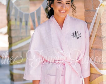 BLUSH BRIDESMAID ROBES - Bride Robe - Cotton Robe - Kimono Robe - Getting Ready Robes - Bridal Party Robes - Bridesmaids Robe - Spa Robes