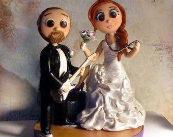 Wedding cake topper - Rock Star Guitar Player & Signer