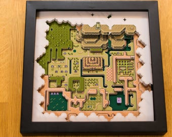 Legend of Zelda - A Link to the Past - Dark Hyrule Map SNES Shadowbox