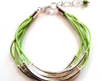 multi strand lime green silver tube bracelet layered noodle cotton cord bracelet stacking everyday casual layering jewelry gifts for her