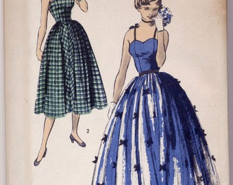 Vintage NOS 1950s Advance Pattern 5640 Ladies Sundress or Gown Bust 34