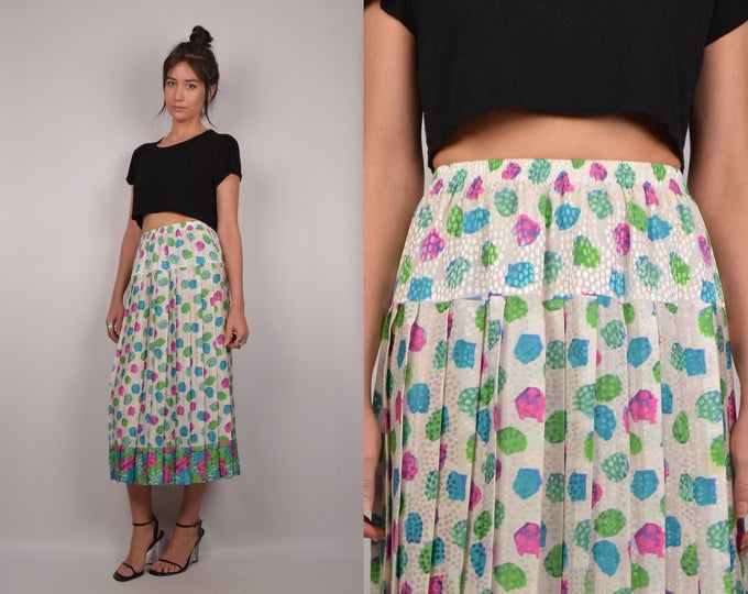 80's Retro Pleated Midi Skirt High Waist