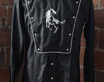 Vintage western stallion bib shirt