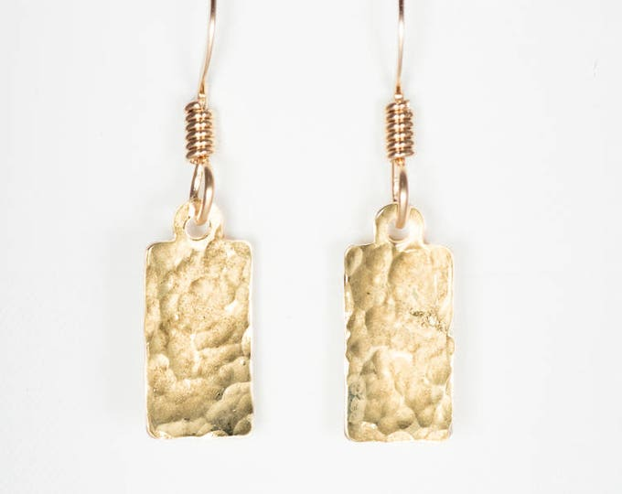 14k Gold Fill Hammered Rectangle Earrings