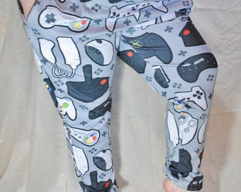 Grey Controller Pajama Pants! Stretchy & Comfy Jogger Style Pants with Drawstring and Pockets