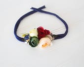 Rose, Rose, Rose Your Boat - darling floral crown tieback in a navy blue, pale peach, wine red, green, champagne gold and cream (RTS)