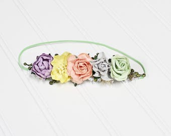 Mint to Fall in Love - dainty tieback halo in peach, lavender, yellow, grey, and mint (RTS)