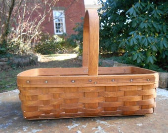 Vintage Longaberger Basket Woven Splint Gathering Basket Market Bentwood Handle Tote Rustic Farmhouse Decor Handmade 1985 Signed MB