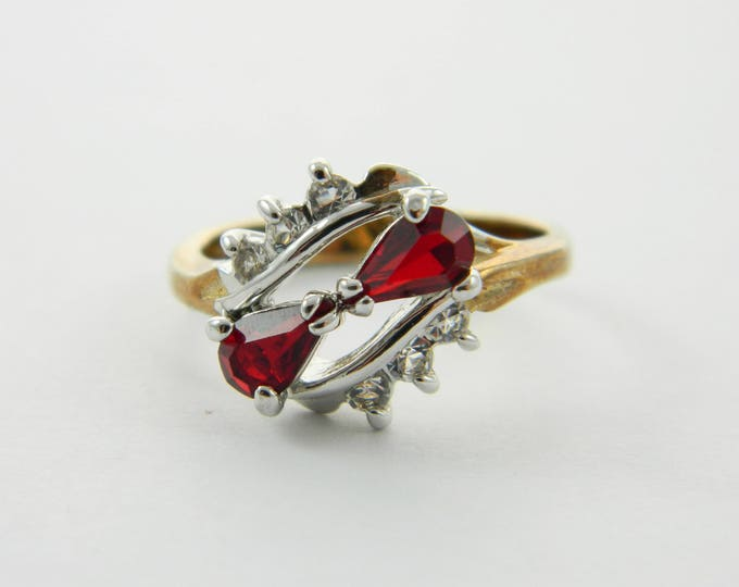 Featured listing image: Vintage 14kt Goldplated Ruby Pear Duo Ring