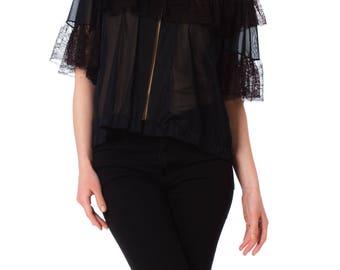 1960s Black Lace-Trimmed Bed Jacket
