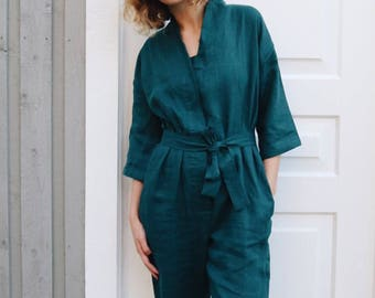 Dark Turquoise Kimono Jumpsuit - Kimono Linen Jumpsuit - Women Overall - Linen Overall - Linen Romper - Handmade by OFFON