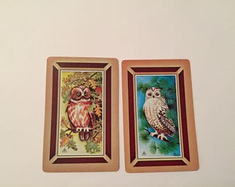 OWL Playing Cards / 2 Vintage OWL Playing Swap Cards Ephemera, OWL Cards Altered Art, Collage
