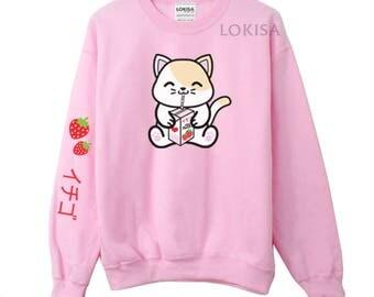 Strawberry Milk Box Kitty Crewneck Sweater Sweatshirt