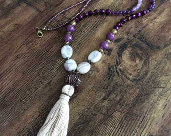 Cream Tassel Necklace/Long Necklace/Beaded Jewelry/Boho Jewelry