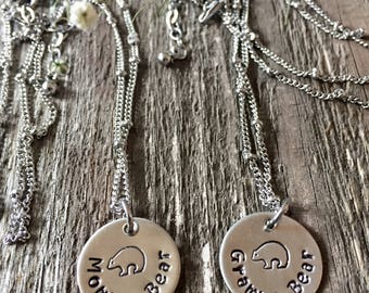 Hand Stamped Momma or Gramma Bear Necklace