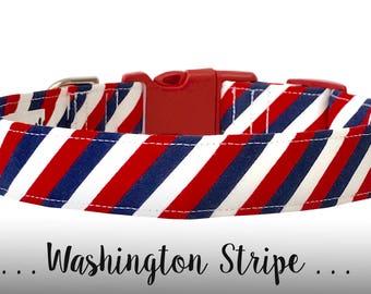 Red, White, and Blue Dog Collar; Stripe Dog Collar: Washington Stripe