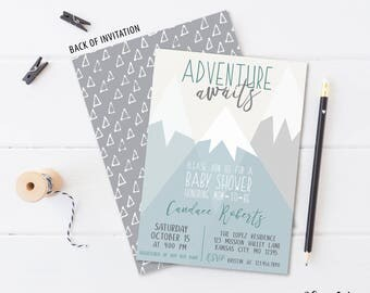 ADVENTURE AWAITS  mountain invitation, gender neutral, baby shower, invite, simple, modern, grey, gray