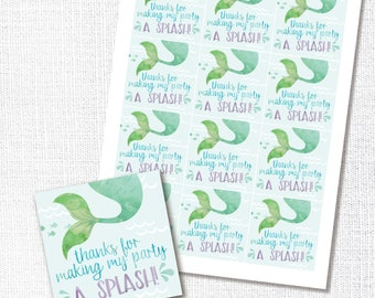 Mermaid Thank You Favor Tag, Printable, Under The Sea Birthday, Sticker, Girl Party, Watercolor, Splash, Instant Download, Party Decor