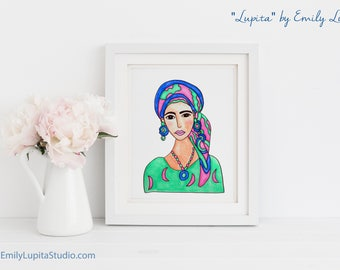 Art Print / Painting Invitation Stationary Card / Woman in Hair Scarf  / Breast Cancer Awareness / Moon Boho / Woman Portrait Colorful Art