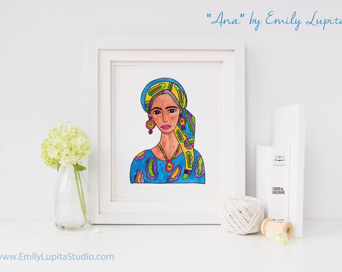 Art Print / Painting Invitation Stationary Card / Woman in Hair Scarf  / Woman Portrait Colorful Art / Mexican American Woman Art Portrait