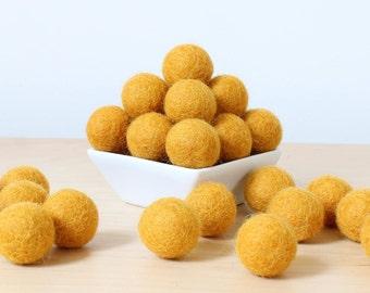 Felt Balls: GOLD, Felted Balls, DIY Garland Kit, Wool Felt Balls, Felt Pom Pom, Handmade Felt Balls, Yellow Felt Balls, Gold Pom Poms