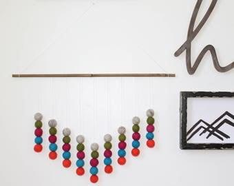 AZTEC Felt Ball Wall Hanging, Pink Green and Blue, Pom Pom Wall Hanging, Nursery Decor, Custom Wall Hanging, Felt Balls, Southwestern Style