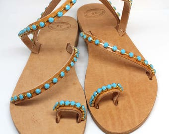 Flat crystal sandals. Beach Wedding Sandals. Summer strappy sandals. Bridesmaid Sandals. Leather women sandals.