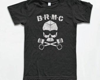 BRMC Skull T Shirt - American Apparel Tri-Blend Vintage Fashion - Graphic Tees for Men & Women - The Wild One, 1950's, Retro, Biker,